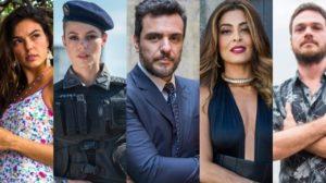 Isis Valverde (Ritinha), Paolla Oliveira (Jeiza), Rodrigo Lombardi (Caio), Juliana Paes (Bibi) e Emilio Dantas (Rubinho) em A Força do Querer (Foto: Divulgação/Globo)