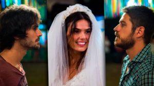 Ritinha (Isis Valverde) com Ruy (Fiuk) e Zeca (Marco Pigossi) em A Força do Querer; com quem ela fica no final da novela? (Foto: Divulgação/Globo)