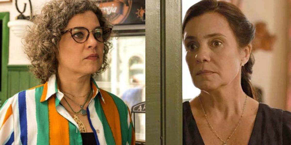 Jane (Isabel Teixeira) e Thelma (Adriana Esteves) em Amor de Mãe; vilã vai assassinar a melhor amiga (Foto: Reprodução/Globo/Montagem)