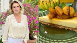 Ana Maria Braga prepara cheesecake de banana no Encontro de hoje (Foto: Reprodução)