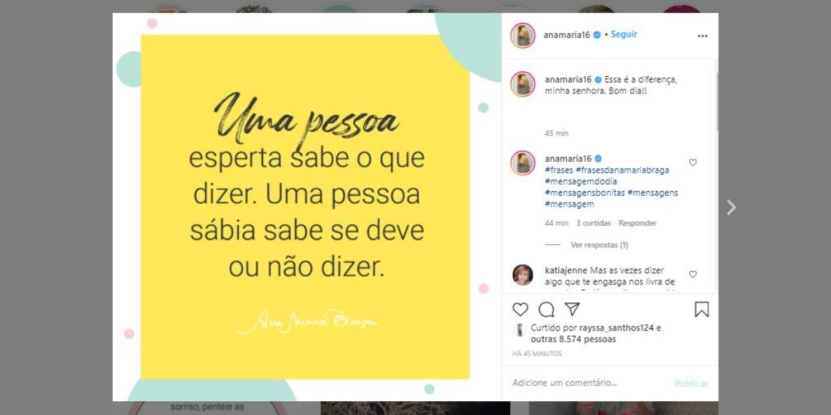 Ana Maria Braga e suas reflexões (Foto: Reprodução/Instagram)