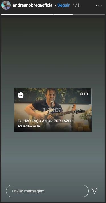 Andréa Nóbrega compartilhou um vídeo de Eduardo Costa (Foto: reprodução/Instagram)