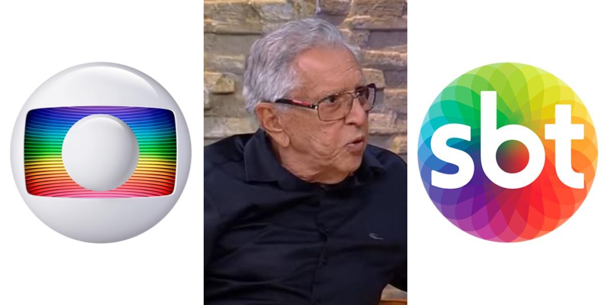 """Carlos Alberto de Nóbrega voltou a gravar o """"A Praça é Nossa"""" (Foto: Reprodução/TV Globo/RedeTV!/SBT)"""