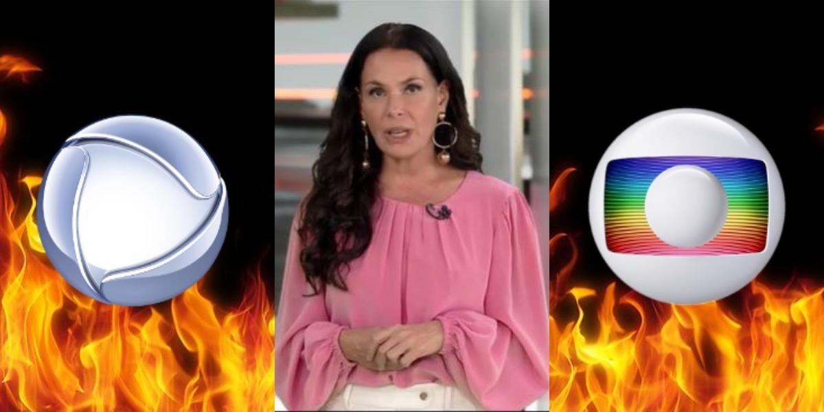 Carolina Ferraz foi porta-voz da briga entre Globo e Record (Foto: Reprodução/Record)
