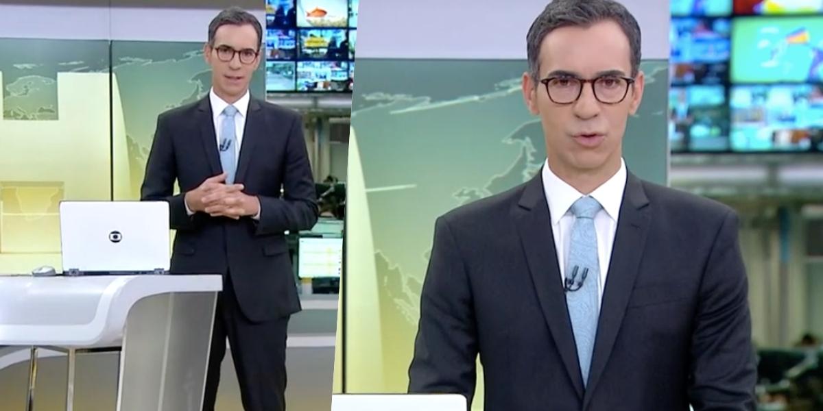 César Tralli no comando do 'Jornal Hoje' (Foto: reprodução/Globo)