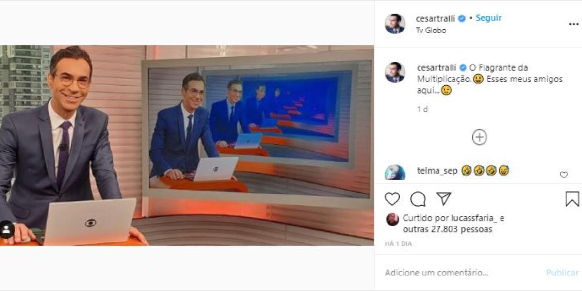 César Tralli compartilhou clique com seguidores (Foto: Reprodução/Instagram)