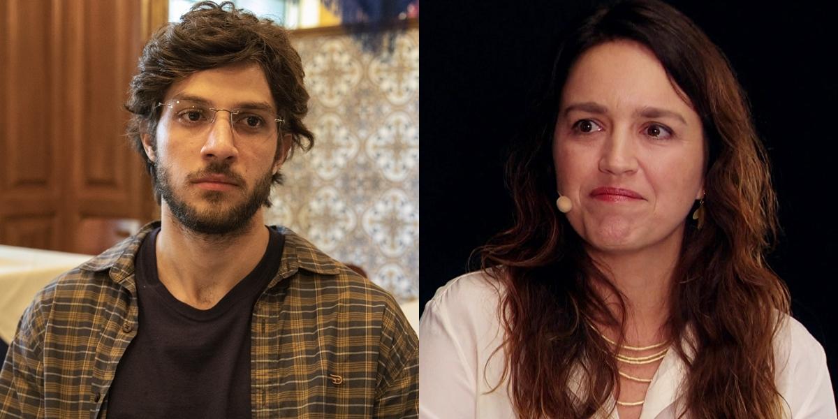 Chay Suede como Danilo em Amor de Mãe e a autora Manuela Dias (Foto: Globo/Victor Pollak)