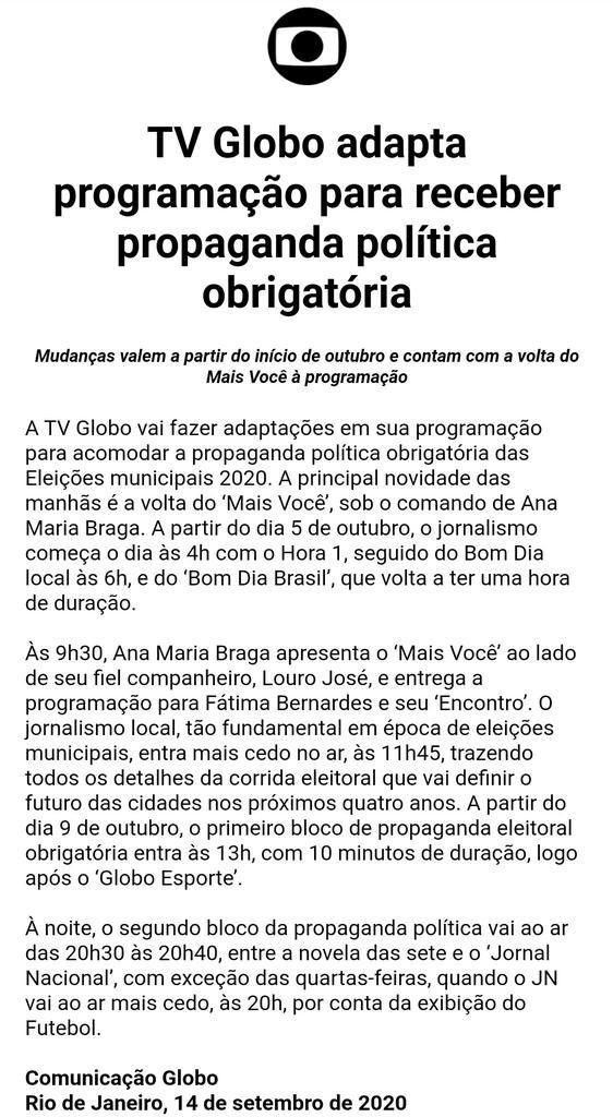 Comunicado da Globo sobre a volta de Ana Maria Braga (Foto: reprodução)