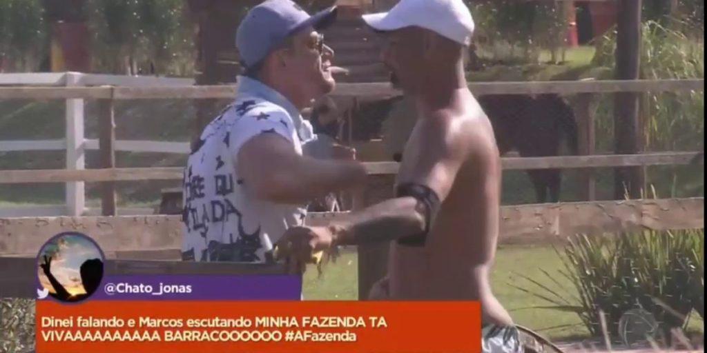 Dinei protagonizou brigas com Marcos Harter em A Fazenda. (Foto: Reprodução)