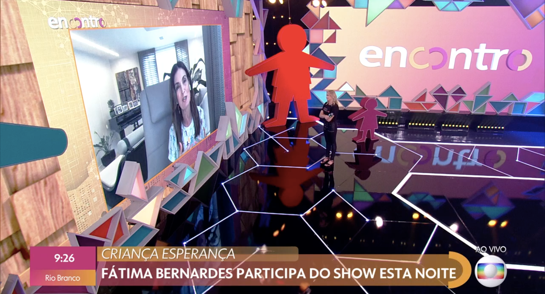 Fátima Bernardes entrou ao vivo no 'Encontro', que estava sendo comandado por Fernanda Gentil (Foto: reprodução)