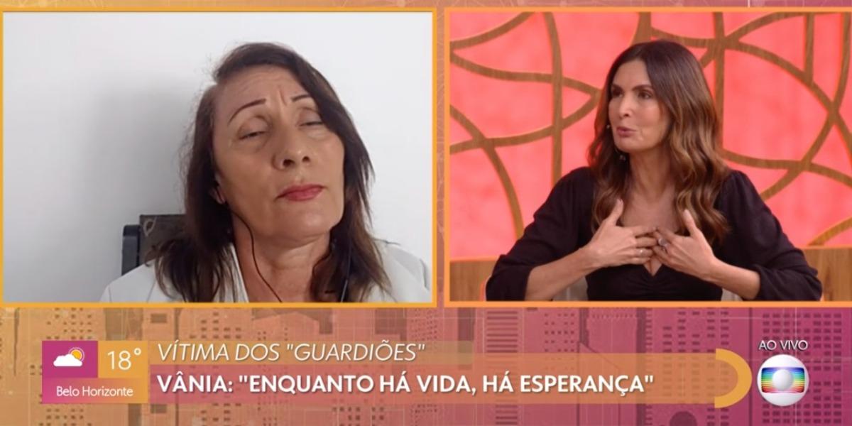 Fátima Bernardes com a sua entrevistada, Vânia (Foto: Reprodução/TV Globo)