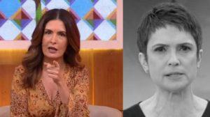 """Fátima Bernardes e Sandra Annenberg interagiram no """"Encontro"""" (Foto: Reprodução/TV Globo)"""