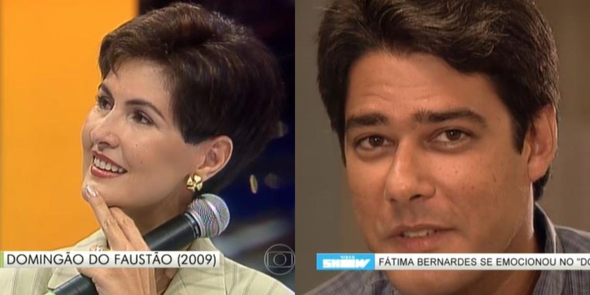 """Fátima Bernardes e William Bonner no """"Arquivo Confidencial"""", em 1998 (Foto: Reprodução/TV Globo)"""