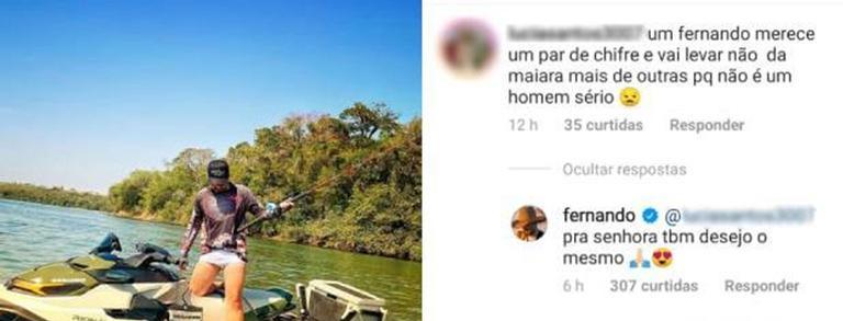Fã revoltada diz que Fernando merece um par de chifres e cantor reage - (Reprodução/ Instagram)