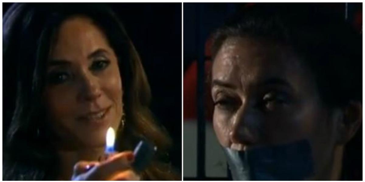 Tereza Cristina (Christiane Torloni) tacará fogo no galpão onde mantém Griselda (Lília Cabral) sequestrada em Fina Estampa (Foto: Reprodução/Globo)