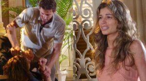 Cassiano (Henri Castelli) tem acerto de contas com Alberto (Igor Rickli) e deixa Ester (Grazi Massafera) chocada em Flor do Caribe (Foto: Reprodução/Globo)
