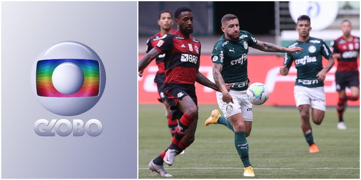 Globo transmitiu o futebol entre Palmeiras e Flamengo (Reprodução)