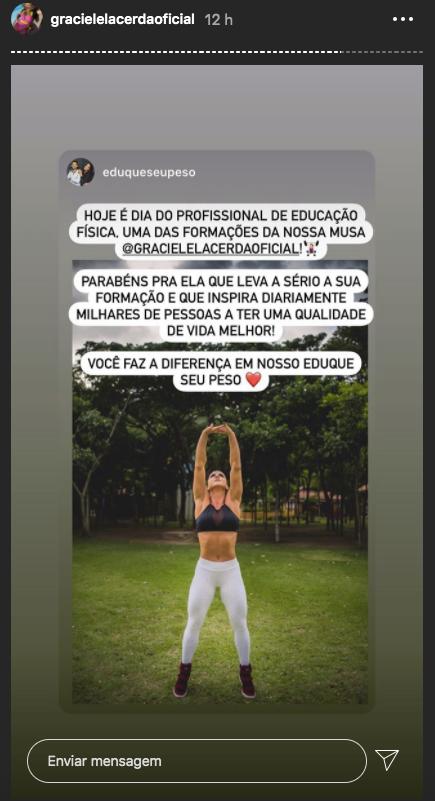 Graciele Lacerda em seus stories (Foto: reprodução/Instagram)