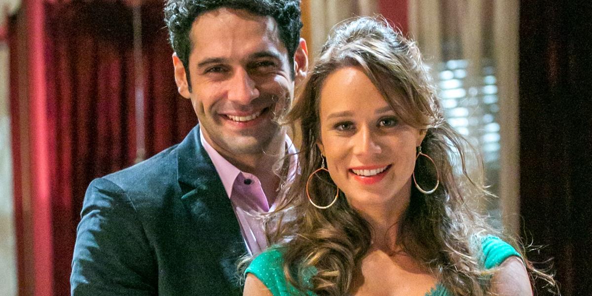 João Baldasserini (Beto) e Mariana Ximenes (Tancinha) em Haja Coração (Foto: Globo/Paulo Belote)