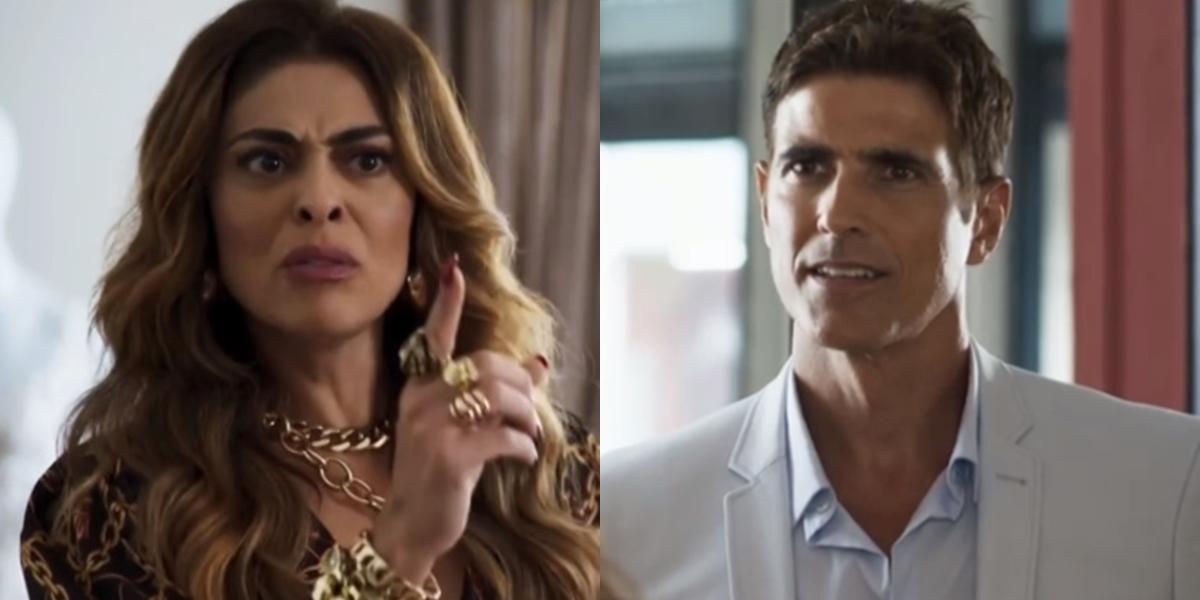 Juliana Paes e Reynaldo Gianecchin em A Dona do Pedaço; atores estão de volta na reprise de Laços de Família (Foto: Reprodução/Globo/Montagem/TV Foco)