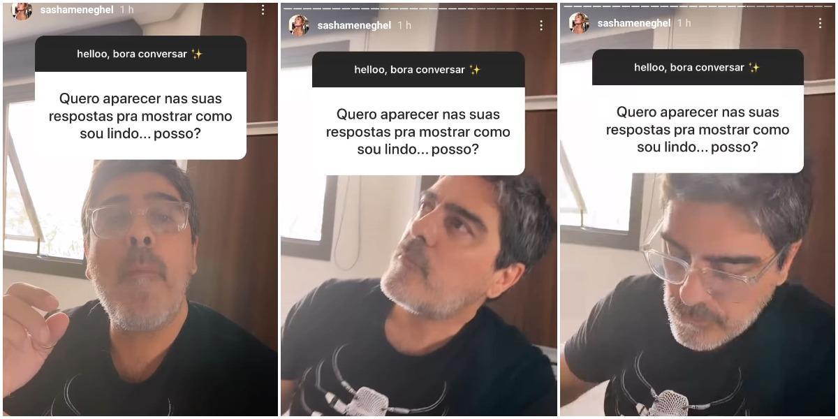 Junno Andrade apareceu nos stories de Sasha, mas ficou em silêncio (Reprodução)