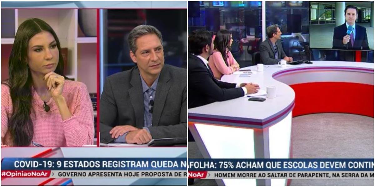 Lacombe na estreia de seu programa na RedeTV! (Reprodução)