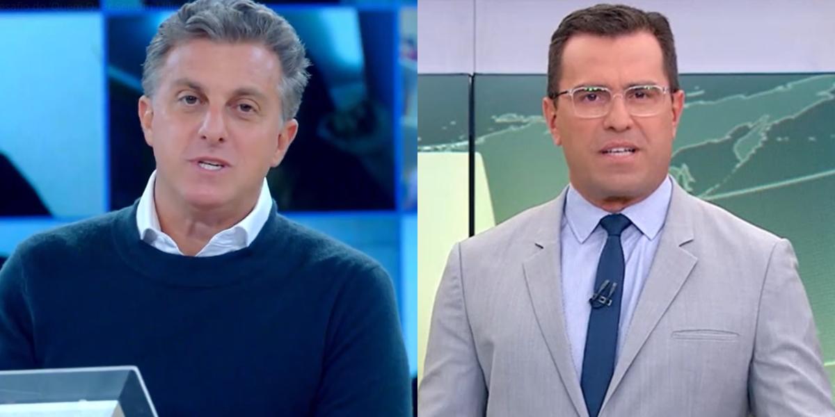 Luciano Huck no Caldeirão e Rodrigo Bocardi no Jornal Hoje; marido de Angélica foi superado por três atrações vespertinas da Globo na audiência (Foto: Reprodução/Globo)