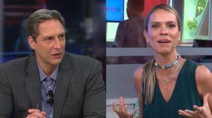 """Luís Ernesto Lacombe e Lígia Mendes no """"Opinião no Ar"""" e no """"Tricotando"""" de hoje (Foto: Reprodução/RedeTV!)"""