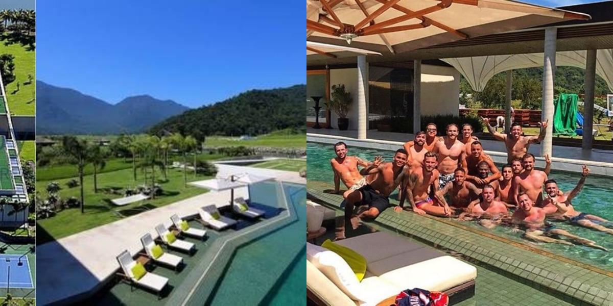 Neymar e parças na mansão do craque no Rio de Janeiro (Foto: Reprodução)