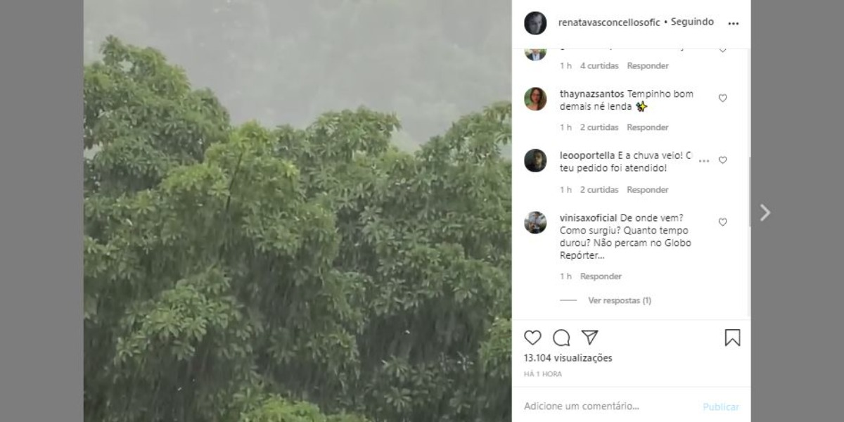 Renata Vasconcellos compartilhou vídeo de chuva nas redes sociais (Foto: Reprodução/Instagram)