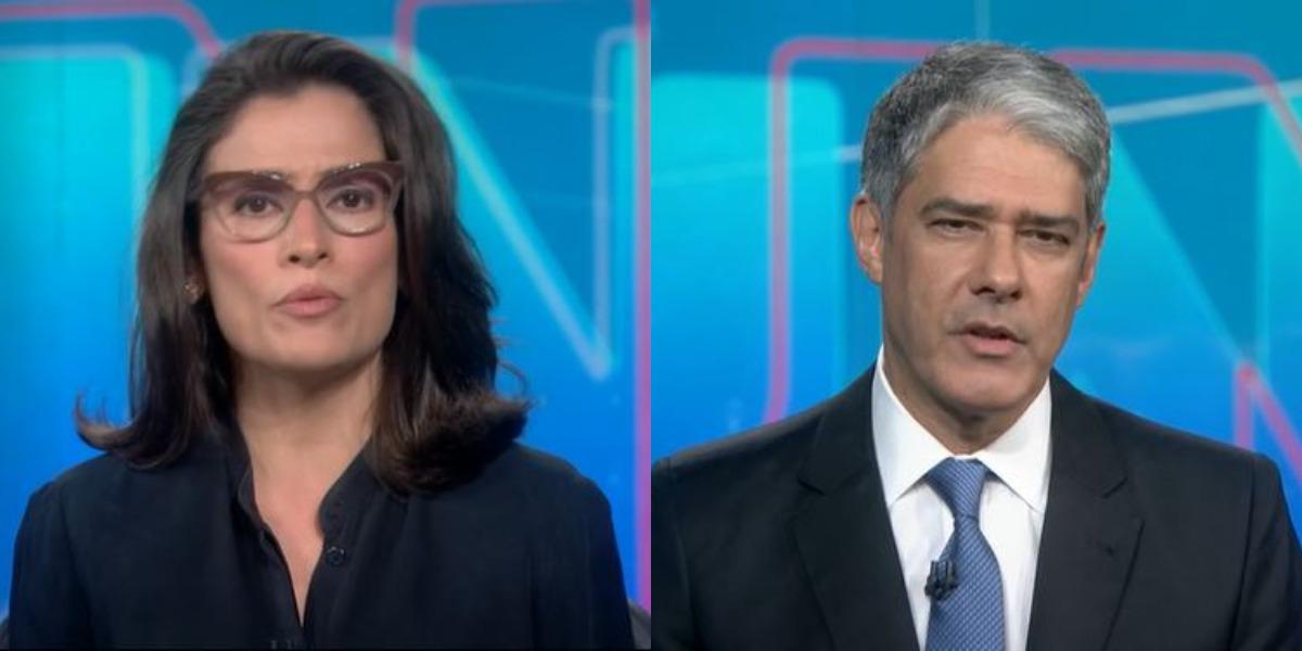 """Renata Vasconcellos e William Bonner no """"Jornal Nacional"""" de ontem (Foto: Reprodução/TV Globo)"""