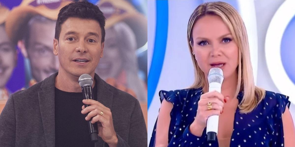 Rodrigo Faro no Hora do Faro e Eliana em seu dominical (Foto: Antonio Chahestian/Record e Reprodução/SBT)
