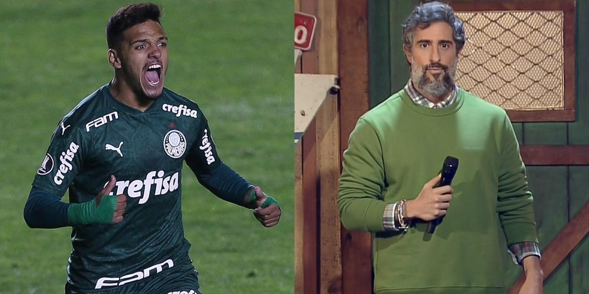 O meia Gabriel Menino no jogo do Palmeiras e o apresentador Marcos Mion em A Fazenda 12; futebol no SBT perdeu para a Record na audiência (Foto: Cesar Greco/Palmeiras e Reprodução/Record)