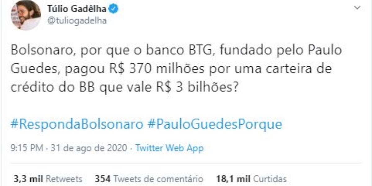 Túlio Gadêlha compartilhou post polêmico (Foto: Reprodução/Twitter)