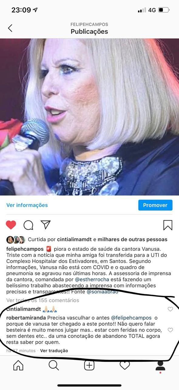 Roberta Miranda fez uma grave insinuação sobre os cuidados que estão tendo com Vanusa (Foto: Reprodução/ Instagram)