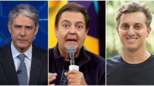 William Bonner, Faustão e Luciano Huck estariam com os pés fora da Globo - Foto: Montagem