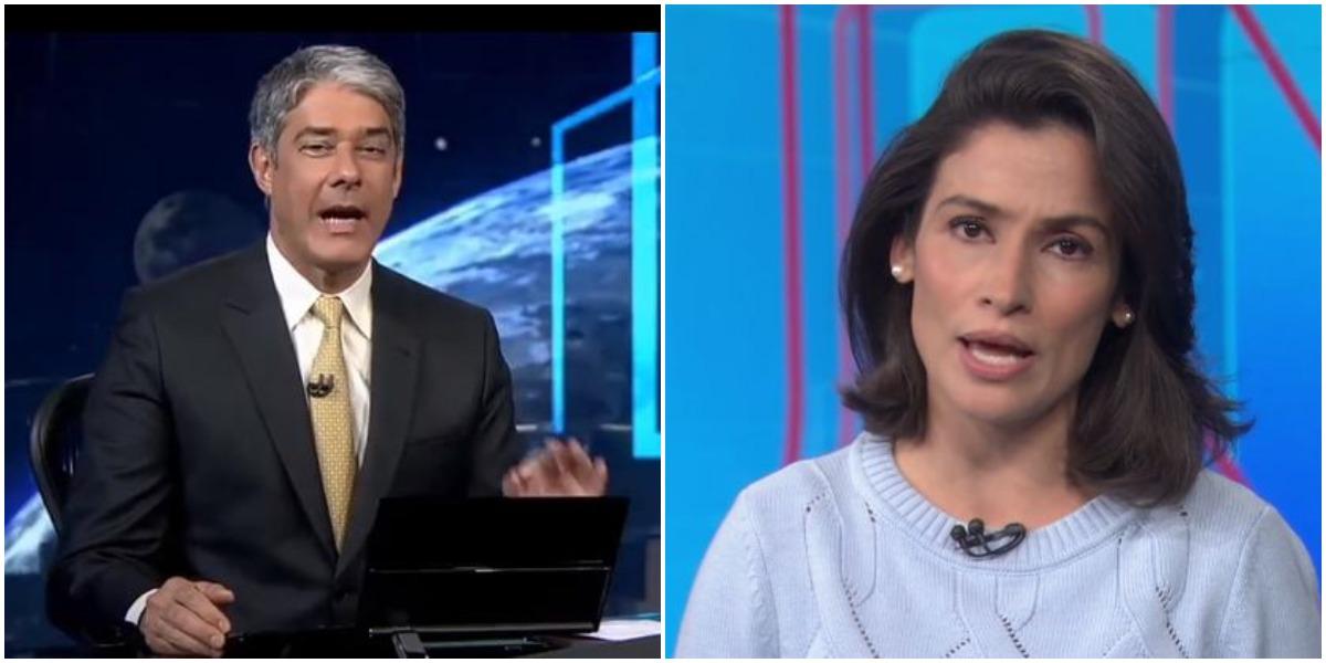 Os âncoras da Globo, William Bonner e Renata Vasconcellos (Reprodução)