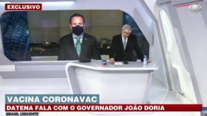 Datena bateu boca com João Dória ao vivo na Band (Foto reprodução)