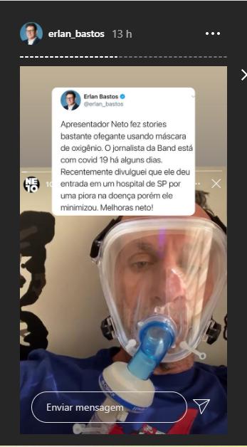 Neto posta foto ofegante com máscara de oxigênio, mas depois apaga (Foto: Reprodução)