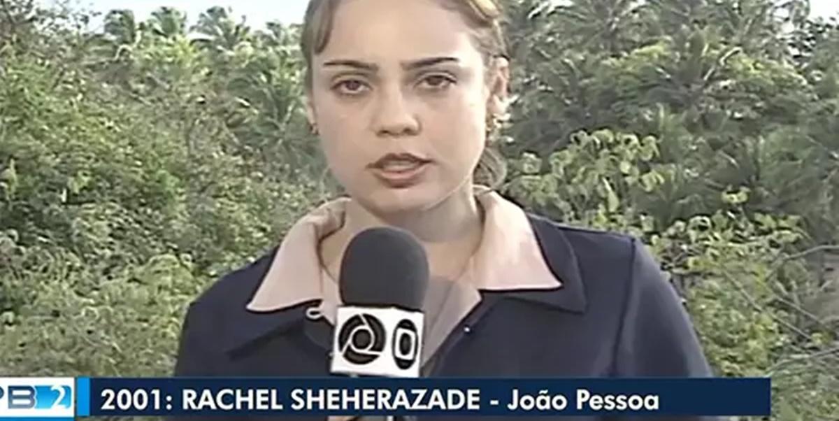 Rachel Sheherazade apareceu como repórter da Globo em TBT de telejornal (Foto: Reprodução)