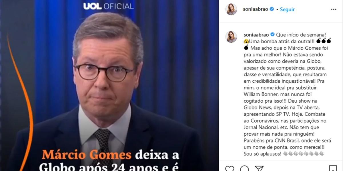 Publicação de Sonia Abrão (Foto: Reprodução)