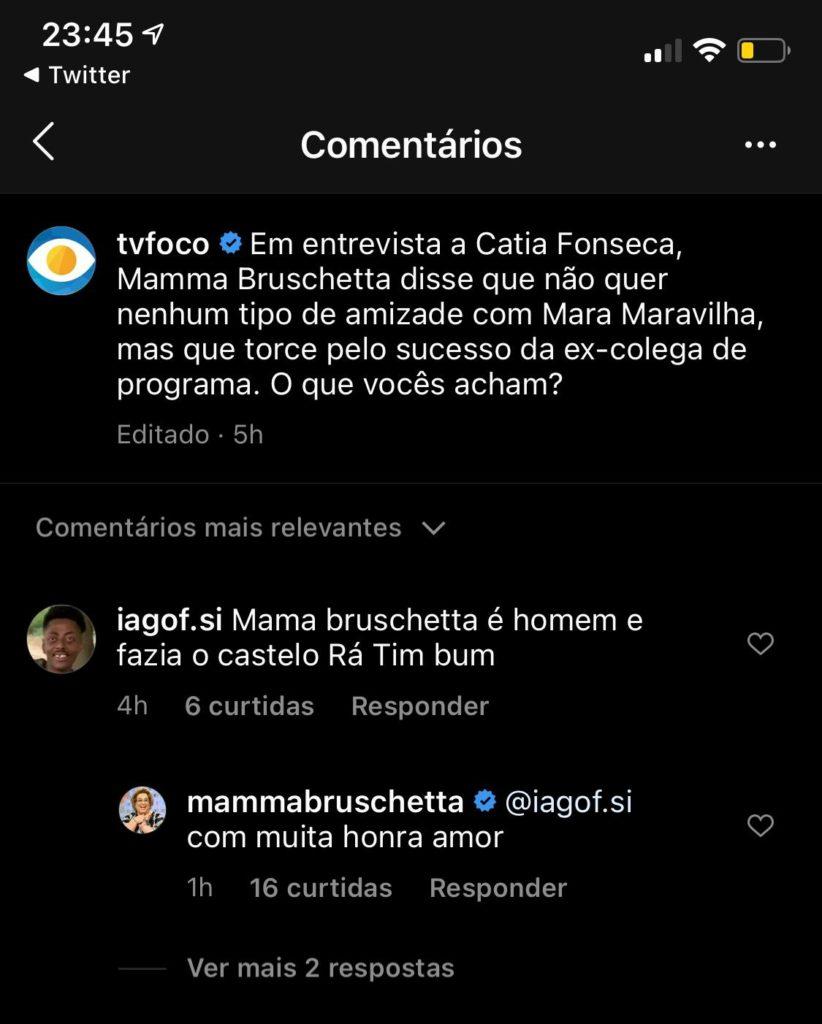 Mamma Bruschetta abriu o jogo (Foto reprodução: Instagram)