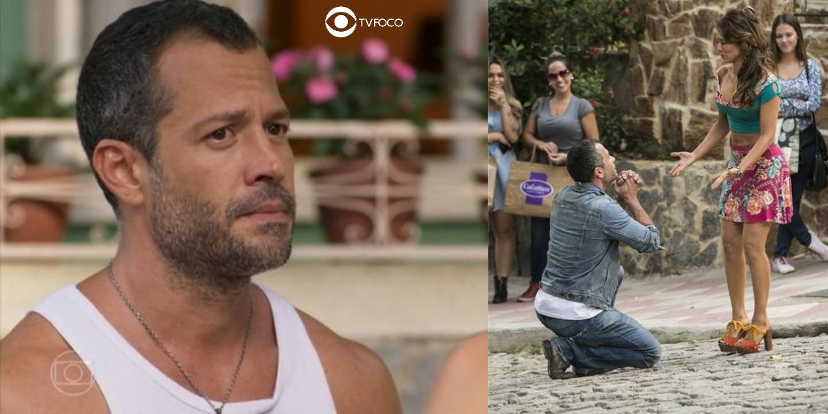 Apolo se ajoelha em frente a Tancinha em foto montagem da novela Haja Coração