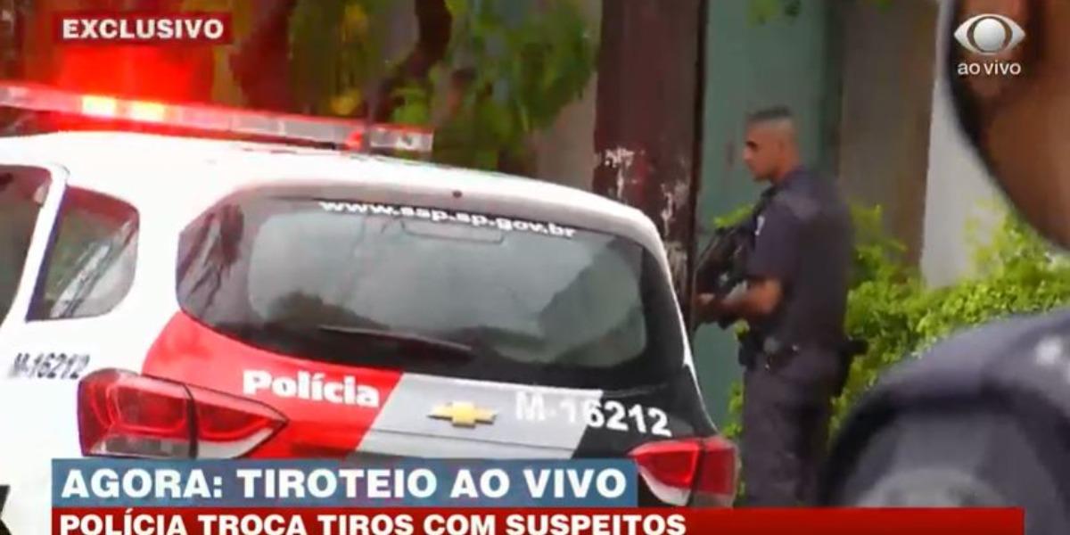 """""""Brasil Urgente"""" mostrou tiroteio (Foto: Reprodução/Band)"""