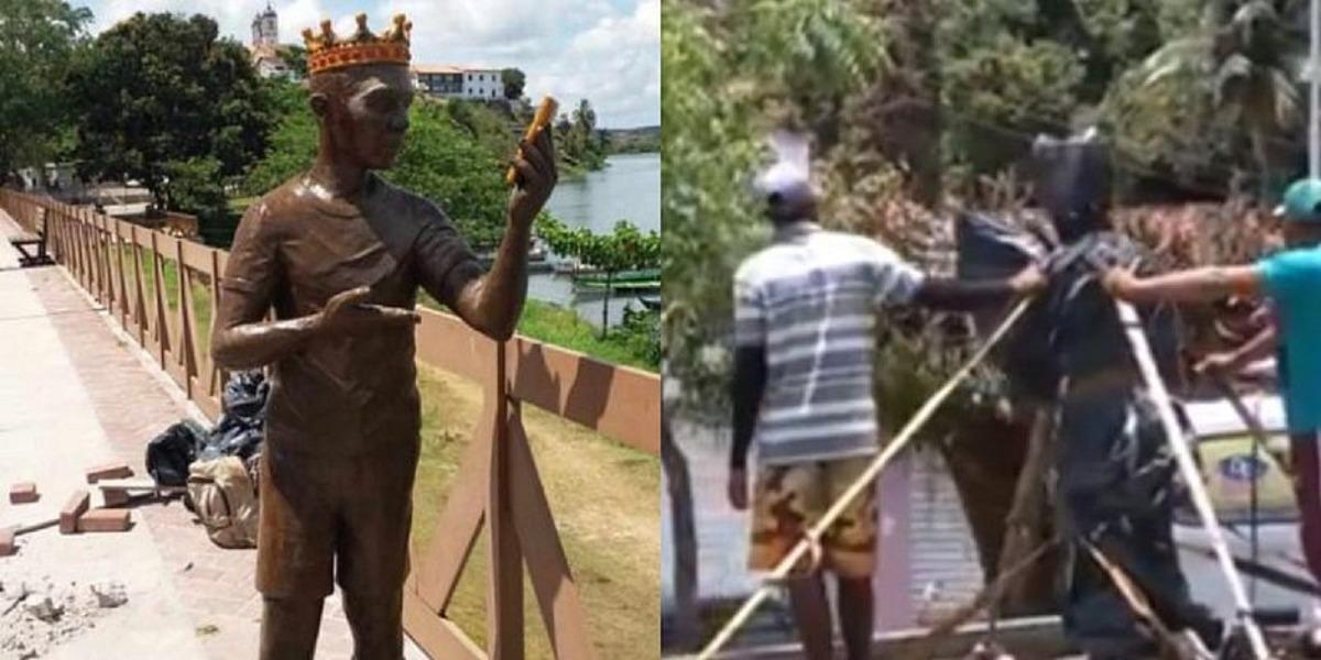 Moradores pedem a remoção da estátua de Carlinhos Maia (Foto: Reprodução)