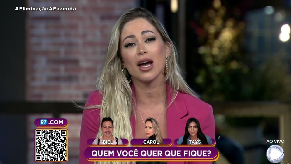 Carol Narizinho foi eliminada em A Fazenda 12 (Foto: Reprodução/ Record TV)