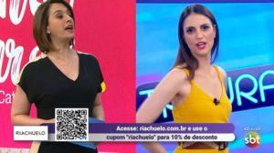 Catia Fonseca e Chris Flores interagiram ao vivo (Foto: Reprodução/SBT)