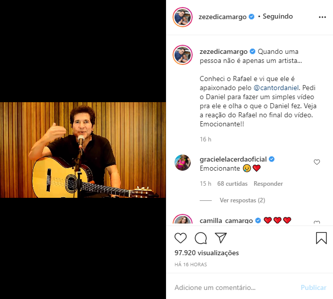 Daniel atendeu pedido de Zezé Di Camargo (Foto: Reprodução/ Instagram)
