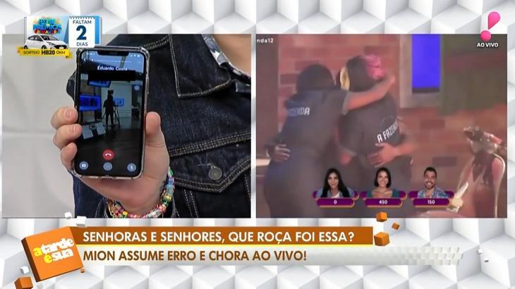 Eduardo Costa conversou com Sonia Abrão durante o programa A Tarde é Sua (Foto: Reprodução)