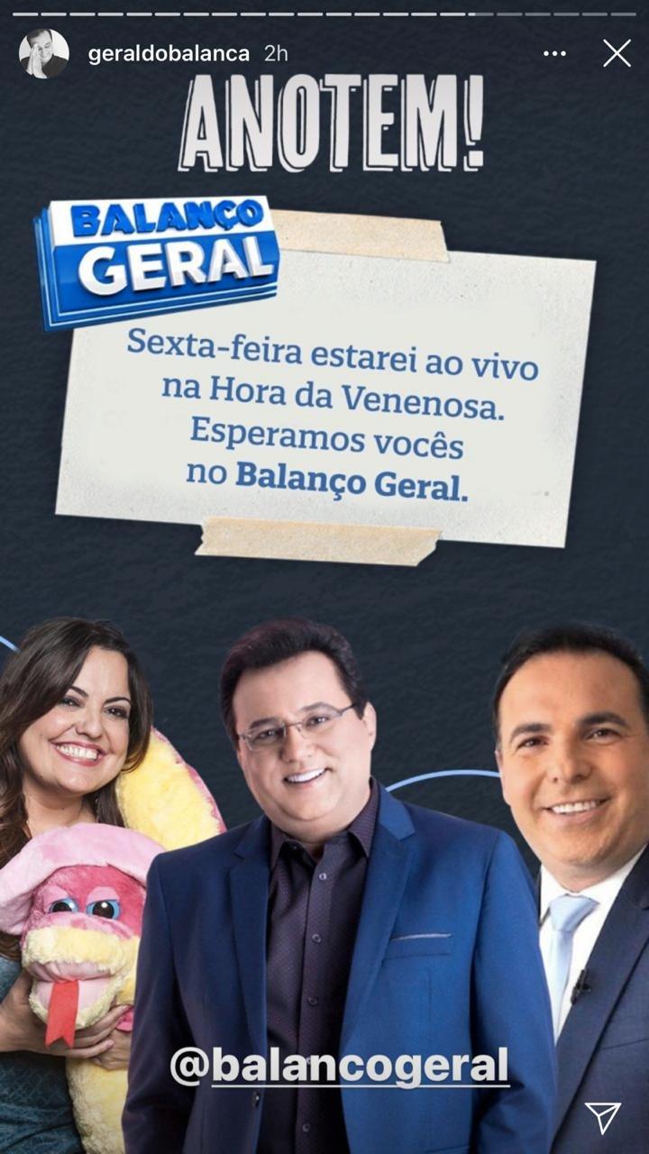 Geraldo Luís retornará ao 'Balanço Geral' (Foto: reprodução)